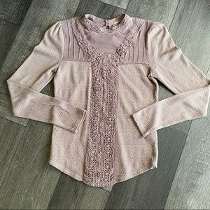 FREE PEOPLE Women's Lilac Lace Long Sleeve Top